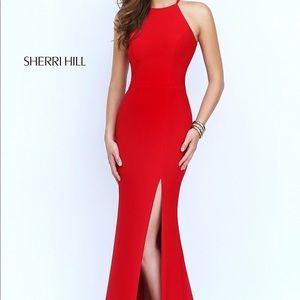 Sherri hill halter red dress